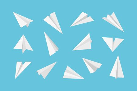 Paper plane. Rockets jet aircraft air transport from paper 3d origami style vector collection. Plane flight, aeroplane paper and aviation jet of set illustration