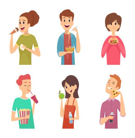 People eating. Healthy food male and female eating and drinking person outside vector characters. Man and woman eating unhealthy food illustration