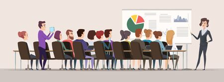 Business trainer. Female teacher in conference hall strategy charts mba meeting people vector. Business training meeting, trainer woman presentation illustration