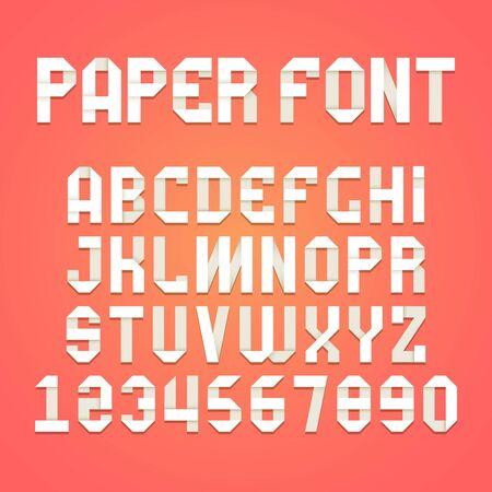 Origami alphabet. Paper folding font typography ribbon shadow letters vector set. Illustration typographic origami, alphabet type paper, abc lettering