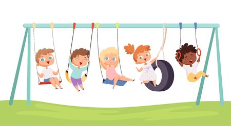 Kids swing. Children funny games rides on car tears rope fitness activities vector characters. Swinging and playing, joy child illustration
