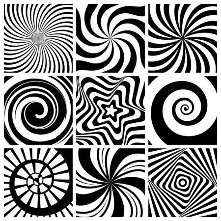 Hypnotic background. Circular swirl wallpaper spiral twist round shapes geometric abstract lines vector collection. Spiral and circular, hypnotic circle twist, illusion geometric abstract illustration