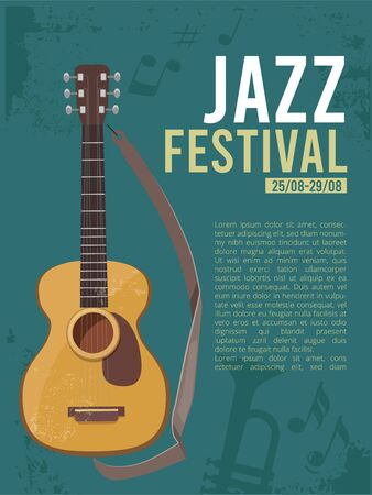 Music festival invitation. Poster placard for live rock concert guitar picture with place for text musically concept. Illustration festival concert, instrument guitar flyer