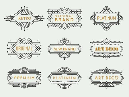 Art deco labels. Frames vintage luxury cafe antique elements outline restaurant arts vector collection. Monogram antique, wedding or boutique logotype linear illustration