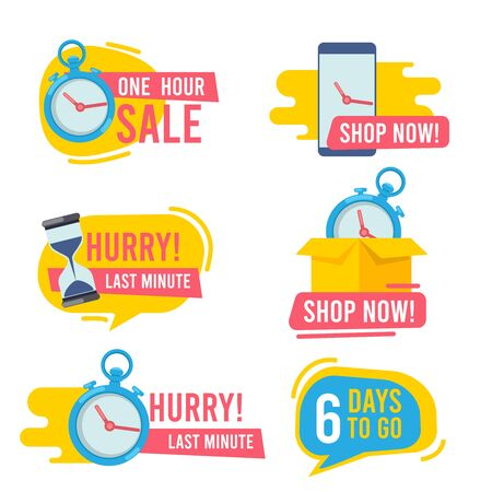 Countdown badges. Promotional hot offers fast sales fire emblem big deals vector marketing stickers collection. Stopwatch and countdown, promotion minute badge illustration
