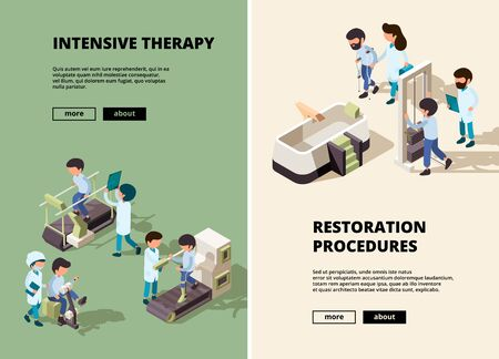 People rehabilitation. Doctor care to disabled person assistant show different exercises vector vertical banners. Illustration rehabilitation medical, doctor physiotherapist assistance recovery
