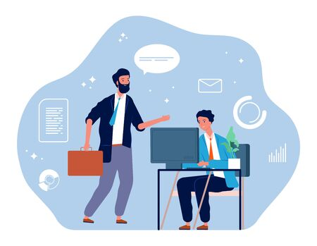 Computer worker. Young businessman, office manager. Overworked guys. IT, marketing or development male vector character. Businessman worker office, workplace executive man illustration Çizim