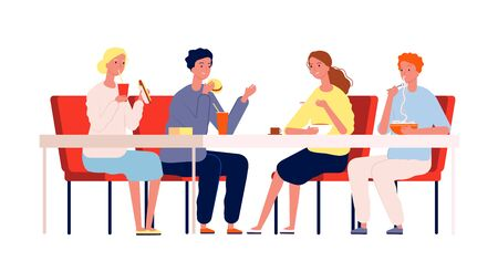 Friends eating. Happy people meeting and have a dinner sitting at the table in restaurant or cafe vector characters. Illustration people meeting, happy sitting and have lunch