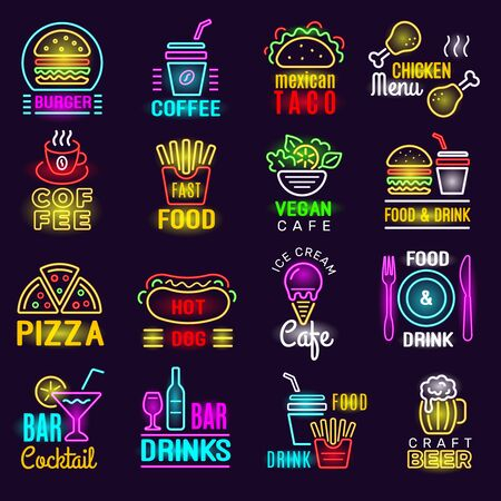 Products neon. Fast food lighting emblem for advertizing signs bar pizza drinks vector. Neon light signboard, restaurant and pizza cafe illustration