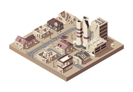 City ruins. Abandoned town with broken buildings manufacturing city decay vandalized objects vector isometric. Illustration building abandoned, town broken, architecture empty and dilapidated
