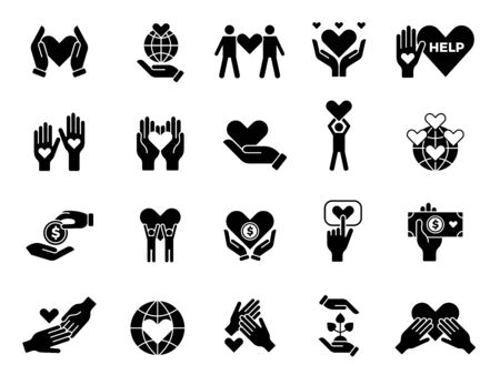 Philanthropy set. Contribute love volunteers goods charities hands with hearts vector conceptual symbols. Love charity care, support and philanthropy illustration