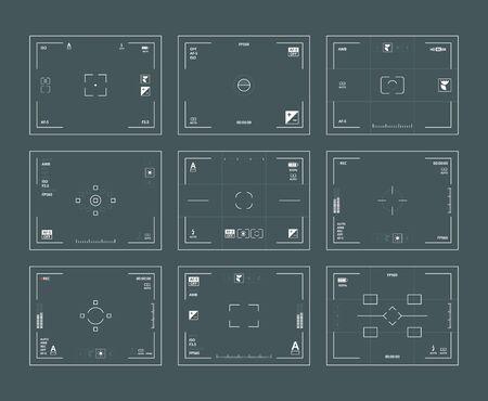 Viewfinder interface. Digital filing dslr cameras frames lens focused vector web template set. Viewfinder screen, video record, rec ui illustration