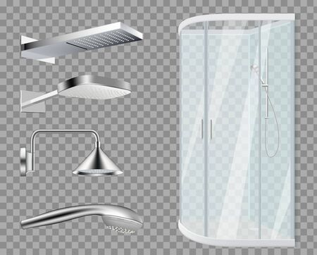 Shower stall. Shower Heads, realistic bathroom elements isolated on transparent background. Vector water metallic accessories set. Illustration shower bathroom, clean hygiene, purity hygienic tools Illustration