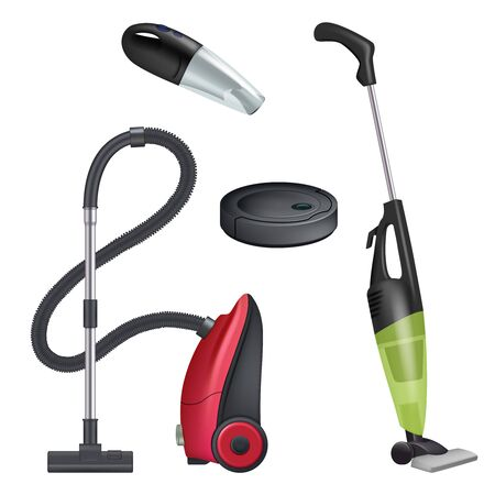 Vacuum cleaner. Realistic equipment for cleaning service modern automatic cleaner vector collection. Wireless gadget, vacuum appliance, domestic housework illustration