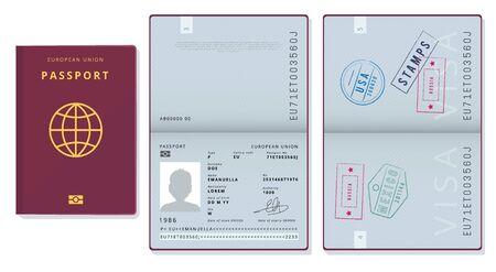 Passport template. Official id document visa sapling pages cards legal travel badges vector pictures. Illustration official passport id, european union document Illusztráció