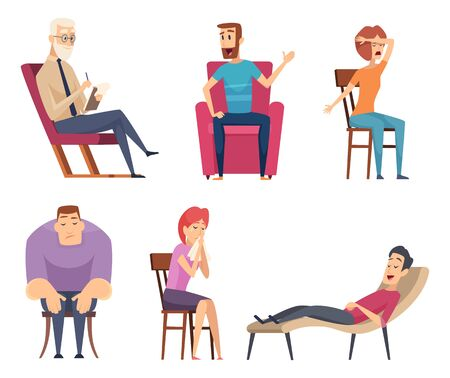 Psychology consultant. Psychotherapy helping consulting male and female persons sitting in sofa and group vector set. Psychotherapy and psychology character illustration Ilustração
