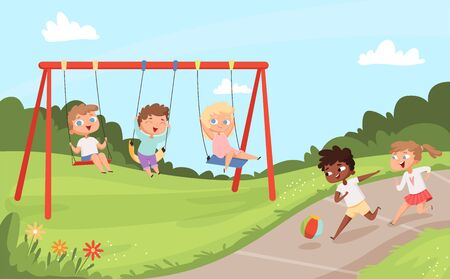 Kids swing rides. Outdoor happy walking and playing childrens nature camp vector cartoon background. Play swinging ride, swing childhood happiness illustration Illustration