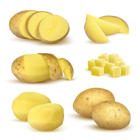 Realistic potatoes. Grocery natural products vegetables fresh sliced eco food plants for vegetarian vector set. Realistic potato slice, natural raw, crude whole illustration