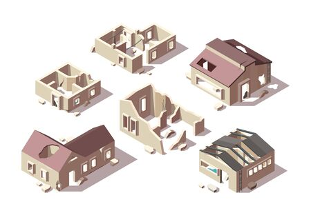 Abandoned buildings. Isometric broken houses city ruined objects vector architectural objects set. Abandoned isometric building architecture, ruin construction outdoor illustration