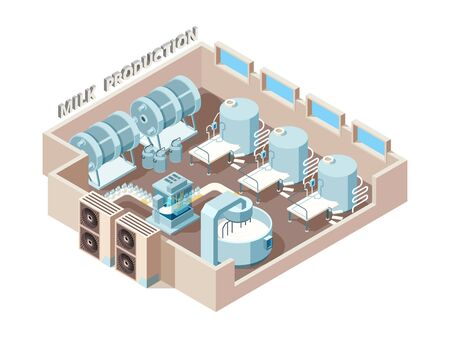 Dairy food factory. Automation industrial milk production bottling equip lines vector isometric factory interior. Factory food milk, dairy manufacturing illustration