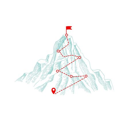 Mountain climbing route. Outdoor business concept path to the top hill progression vector illustration. Top mountain, climbing route to flag peak Stock Illustratie