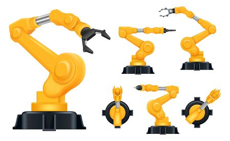 Industrial hands. Factory automatically robots for manufacturing processes smart help systems vector realistic. Process arm work robotic engineering automation illustration