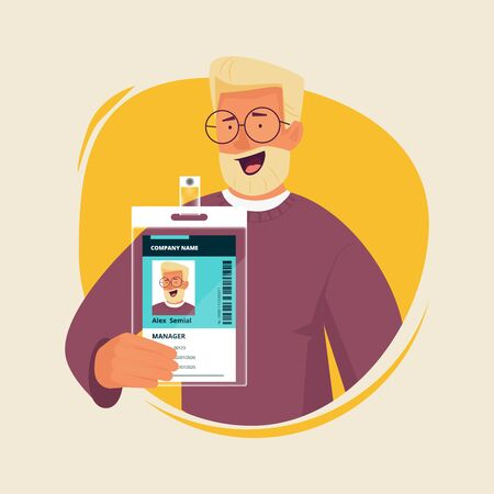 Office manager with id card. Businessman presenting personal badge passport entrance document staff numbers vector character. Id card badge, identity employee corporate company illustration 向量圖像