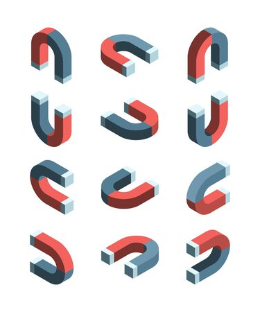 Magnet isometric. Iron items with magnetism connection symbols vector collection set. Illustration magnet and magnetize metal