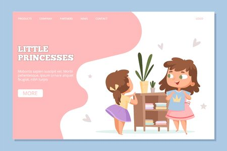 Girls shopping. Online clothes store for little princesses web banner. Cute cartoon sisters with t-shirt vector landing page. Princess clothing store, woman online buy illustration