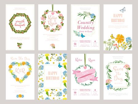 Floral cards. Botanical illustration for placard invitation wild flowers foliage vector template. Botanical card with header, blooming flyer Ilustracja