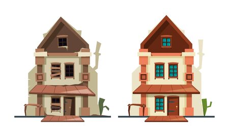 Abandoned house. Repair old building exterior of cottage fixing architectural object new house vector flat pictures. Repair fix, maintenance house building illustration