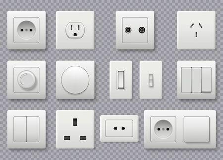 Interruptor de pared. Toma de corriente eléctrica diferentes interruptores redondos modernos vector colección realista. Energía eléctrica, toma de corriente ilustración europea y americana.