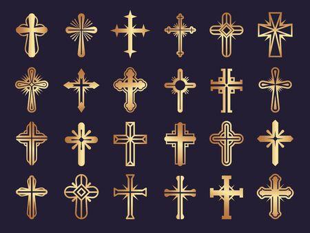 Christen überqueren. Religionsvektorsymbole Jesus Katholizismus Stammes- authentische Vektorikonen eingestellt. Symbolsammlung Stammes-Kreuz-Religion-Abbildung
