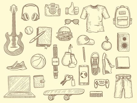 Teenage stuff. Young boys and girls clothes and gadgets teenage modern wardrobe vector drawn collection. Teenager drawing clothes and things, glasses and guitar illustration