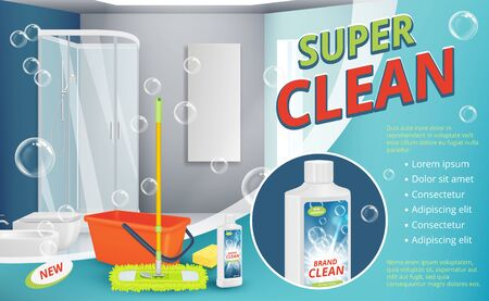 Cleaning agent. Advertizing placard power cleaning spray for surface shower room sanitation dust equipment vector realistic background. Hygiene surface, bathroom detergent, bottle cleaner illustration