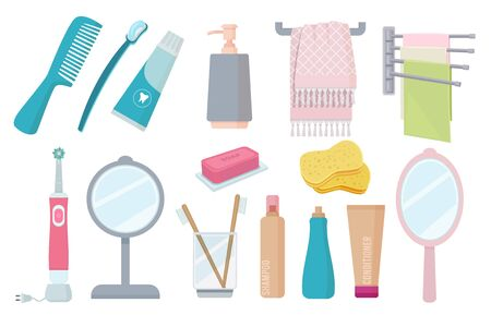 Bathroom accessories. Toothbrush paste hygiene towel cream comb vector colorful items. Toothbrush and towel, shampoo hygiene, brush and toothpaste illustration