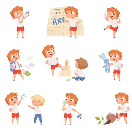Bad behavior kids. School sad boys and girls angry devil little persons vector characters. Boy behavior bad, kid character angry illustration