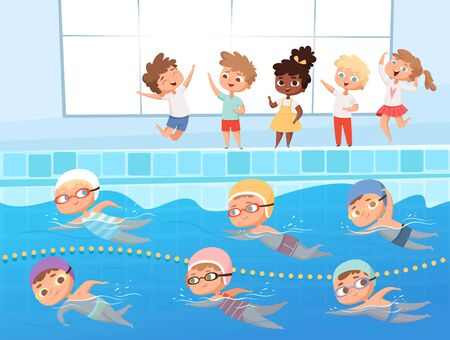 Swimming competition. Kids water sport swimming race in pool vector cartoon background. Illustration swim competitive and recreation, competition swimmer illustration