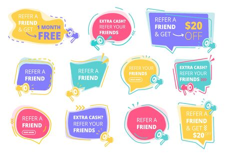 Refer a friend. Referral program promotional stickers vector colored badges design template. Refer friend, referring and recommend illustration