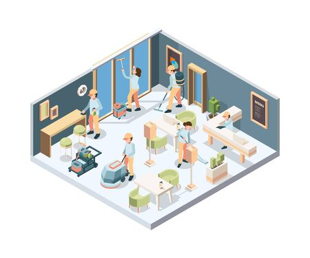House cleaning. Professional cleaning service person in gloves sponge polishing window and floor in room vector isometric. Maid professional washing vacuuming, process team cleaning room illustration Vecteurs