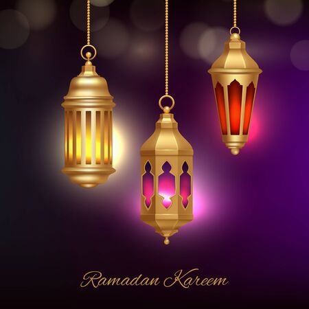 Islamic lamps background. Heritage arabic lanterns with beautiful glow effect religion ramadan concept vector illustration. Muslim lamp, arabian holiday arabesque Ilustrace