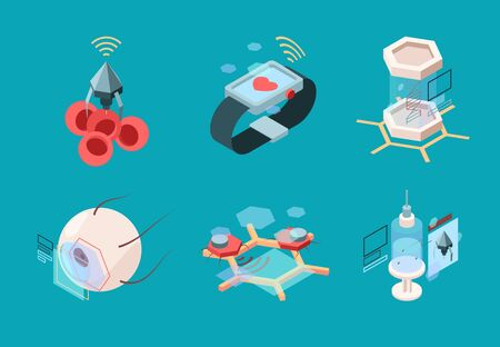 Nanotechnology isometric. Bio modern medical systems nanorobot human implant organs research machines vector future medicine pictures. Illustration nanotechnology research, molecule human experiment 向量圖像