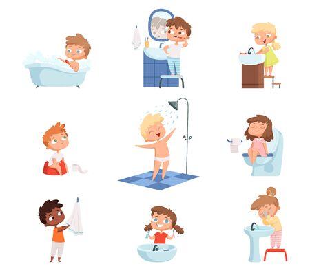 Lavar a los niños. Cepillarse los dientes jabón de higiene de tocador para el conjunto de vectores de rutina diaria de los niños. Ilustración mañana bañándose a los niños, higiene diaria.