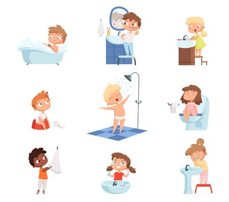 Washing kids. Brushing teeth toilet hygiene soap for childrens daily routine vector set. Illustration morning bathing children, hygiene daily