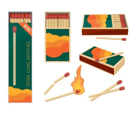 Matches cartoon. Fire symbols dangerous wooden matches safety matchstick in box burning flame vector collection. Matchbox wooden, flammable matchstick illustration