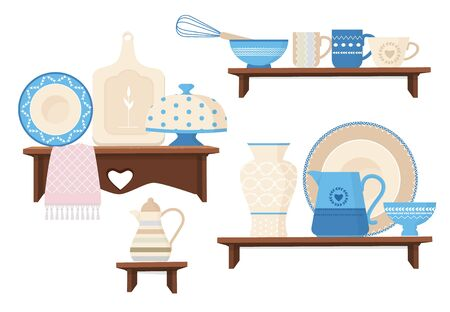 Ceramic kitchen cookware. Cafe restaurant equipment decorative handmade colored dishes mugs teapots plating vector stylish cookware. Kitchen cookware, household teacup and jug illustration