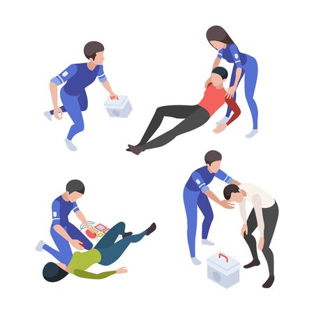 Medical people. Ambulance service reanimation nurse medical personal vector isometric characters healthcare set. Emergency reanimation, medicine doctor, first help illustration