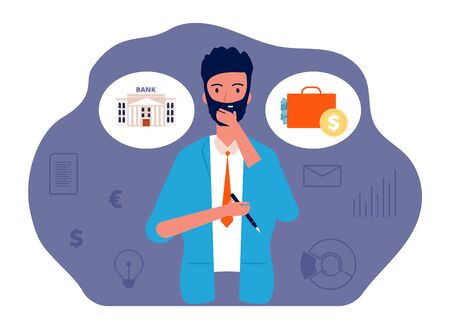 Save money. Man thinking about investing. Businessman investor and finance, capital appreciation vector concept. Investment money safe or deposit bank illustration