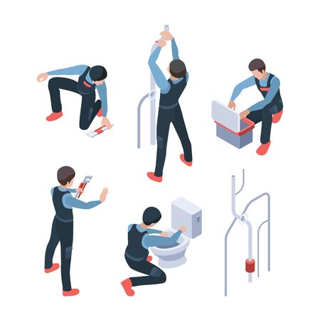Plumber service isometric. Repair bathroom fixing washroom and toilet systems making pipeline vector illustration. Plumber isometric, toilet fixing