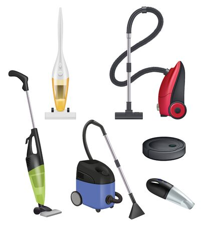 Vacuum cleaner modern. Carpet cleaner vector realistic items sanitation rooms. Hoover and vacuum, gadget wireless cleanup illustration